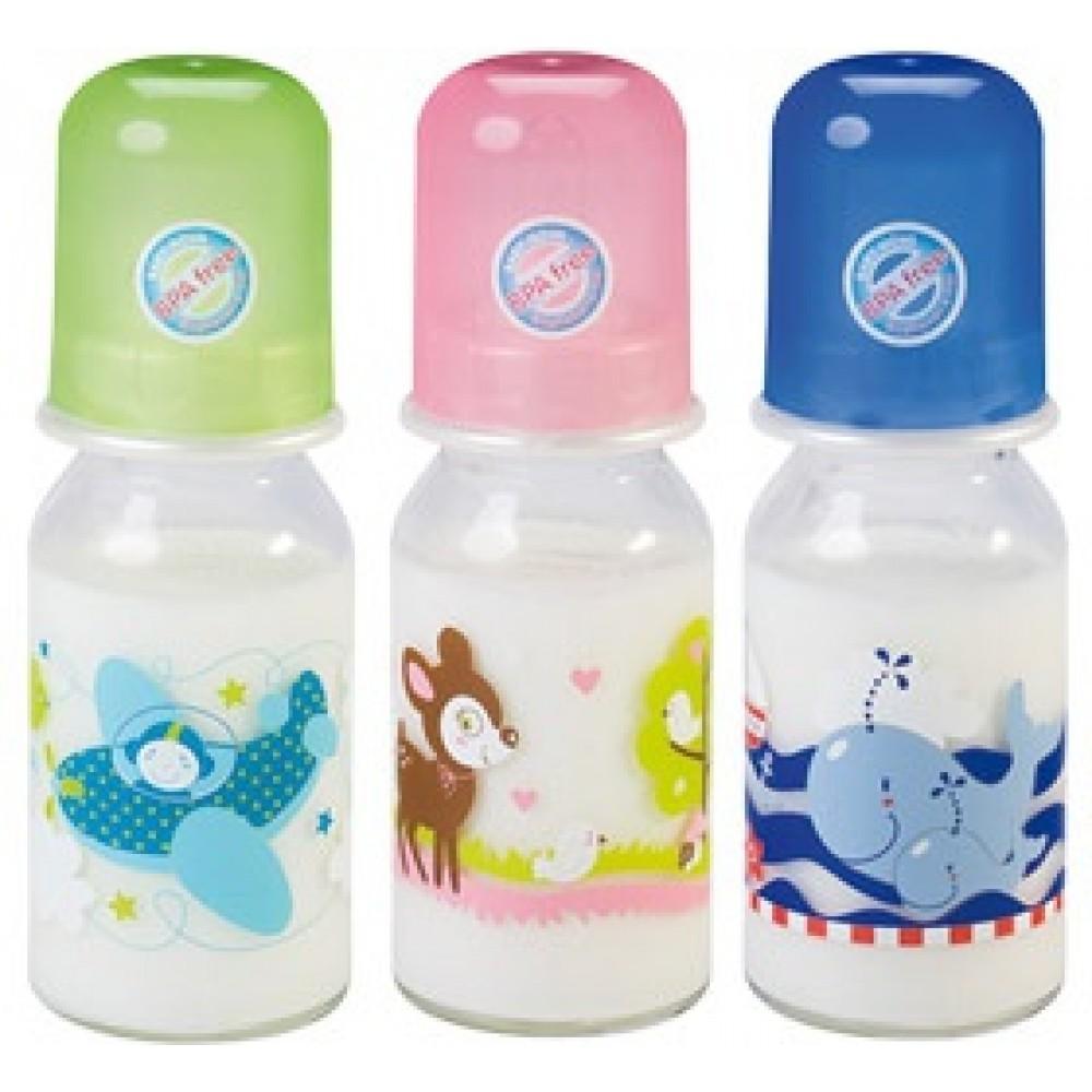 Steklena steklenička z navojem z motivi - 125 mL s silikonskim cucljem okrogle oblike za mleko